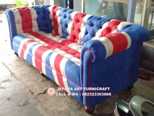 Dijual Harga Murah Sofa Tamu Chesterfield Bendera Inggris
